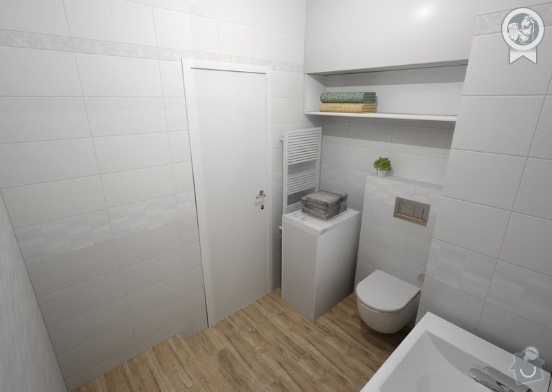 Vizualizace koupelny: pohled na WC a úložné prostory