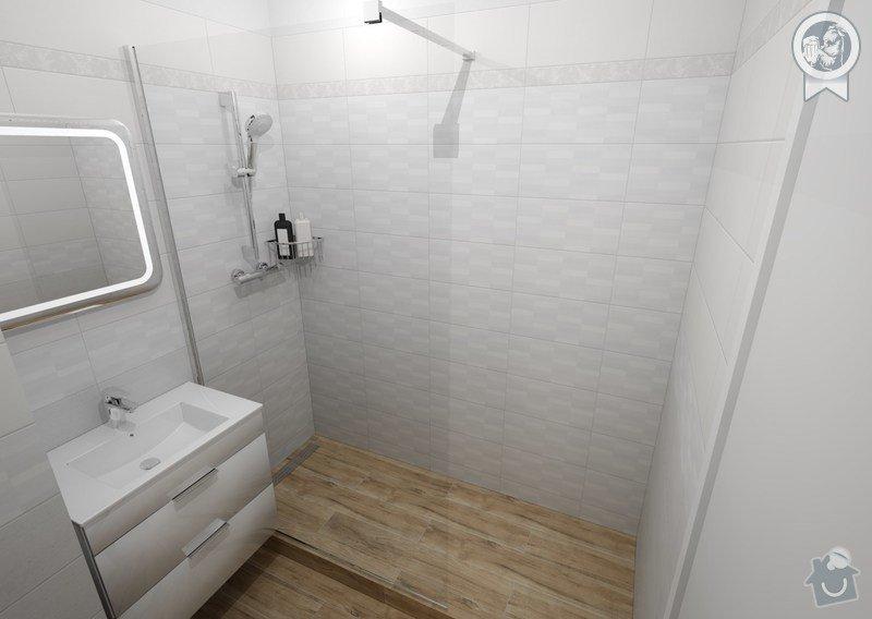 Vizualizace koupelny: pohled na sprchový kout