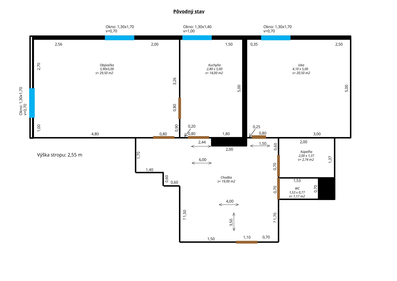 Půdorys bytu 2+1 s obývákem, kuchyní a jedním pokojem.