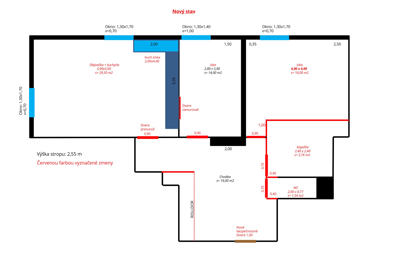 Půdorys nového bytu, tentokrát jde už o 3+kk.