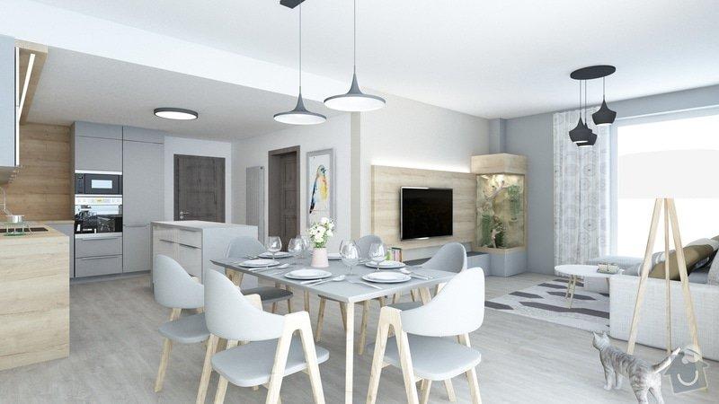 Vizualizace bytu, obývací pokoj spojený s kuchyní.